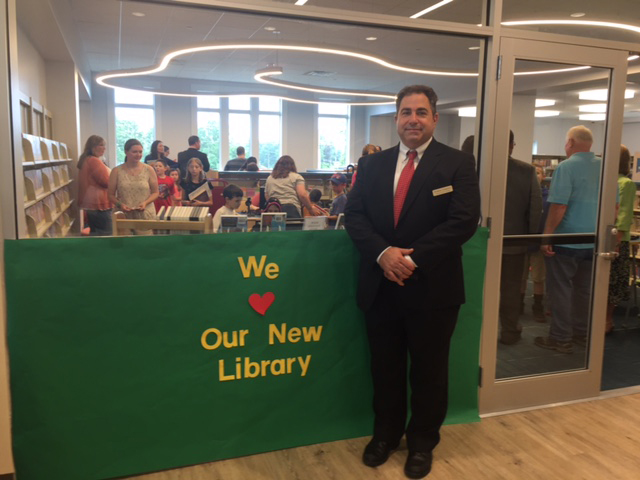 Andrew Gargano, trustee of the West Milford Public Library, at the opening of the new library June 17, 2017. Andrew recently participated in the NJLTA training seminar at the Keyport Public Library.